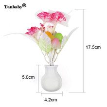 Tanbaby  Novelty Mushroom Flower Night Light EU & US Plug Wall Light Sensor  3 LED Colorful Rose Lamp Home Bedroom Decoration