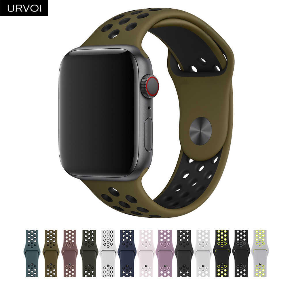 URVOI Strap for apple watch series 432 sport band for iwatch  silicone band replacement breathable new colors 38/40/42/44mm