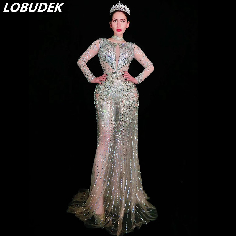 Flash Argent Strass Sexy Perspective Longue robe pour femmes De Bal Partie Célébration une pièce Robe Étoiles Chanteur Mode Stage Porter
