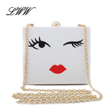 Stylish Eyebrow Printing Acrylic Clutch Expression Women Shoulder Crossbody Bags White Mini Flap Evening Clutch Bags for Girl
