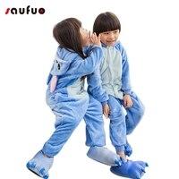 Animal Stitch Girls Cute Warm Autumn Winter Homewear Blue Flannel Cartoon Pajamas Parent Children Home Furnishing
