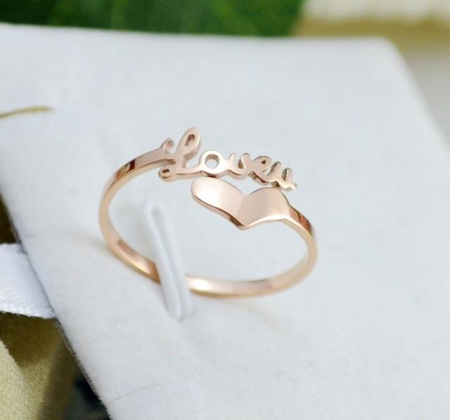 Love letter heart rose gold color rings for women girl open
