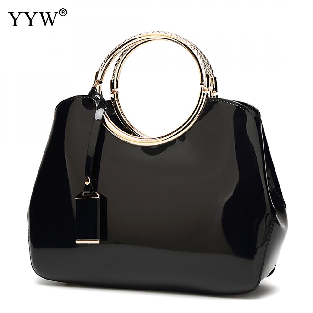 Black Tote Bag for Women Brand Luxury Women s Patent Leather Handbags Royal Blue Lady s