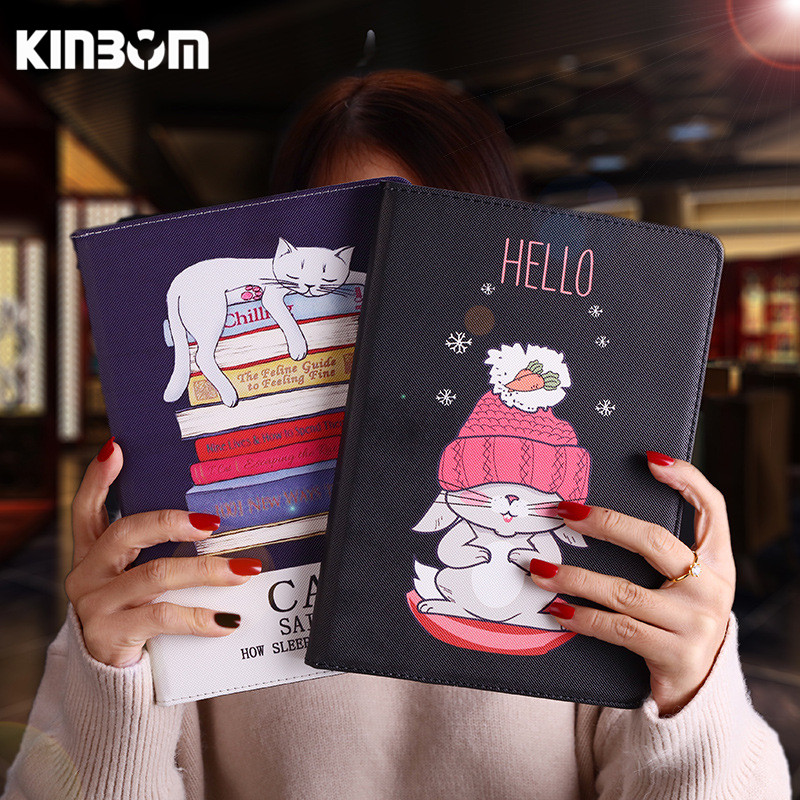 KINBOM For Apple Case Cover Cartoon Cat Case 10.5inch Cute Fashion For Ipad Pro Mini Sleep Shell High Quality PU Leather Case navy cute high waisted leather mini skirt