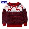 Crianças Camisola de Malha de Inverno 2016 Pullover para Meninos Bonitos do Natal Dos Cervos Camisola Meninos Tops Quentes Moda Ano Novo Crianças Roupas