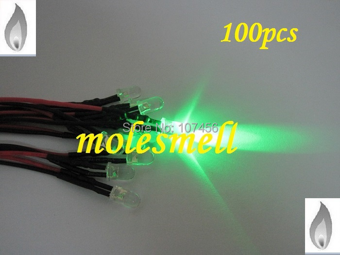 Free shipping 100pcs 5mm green Flicker 12V Pre-Wired Water Clear LED Leds Candle green Light 20CM