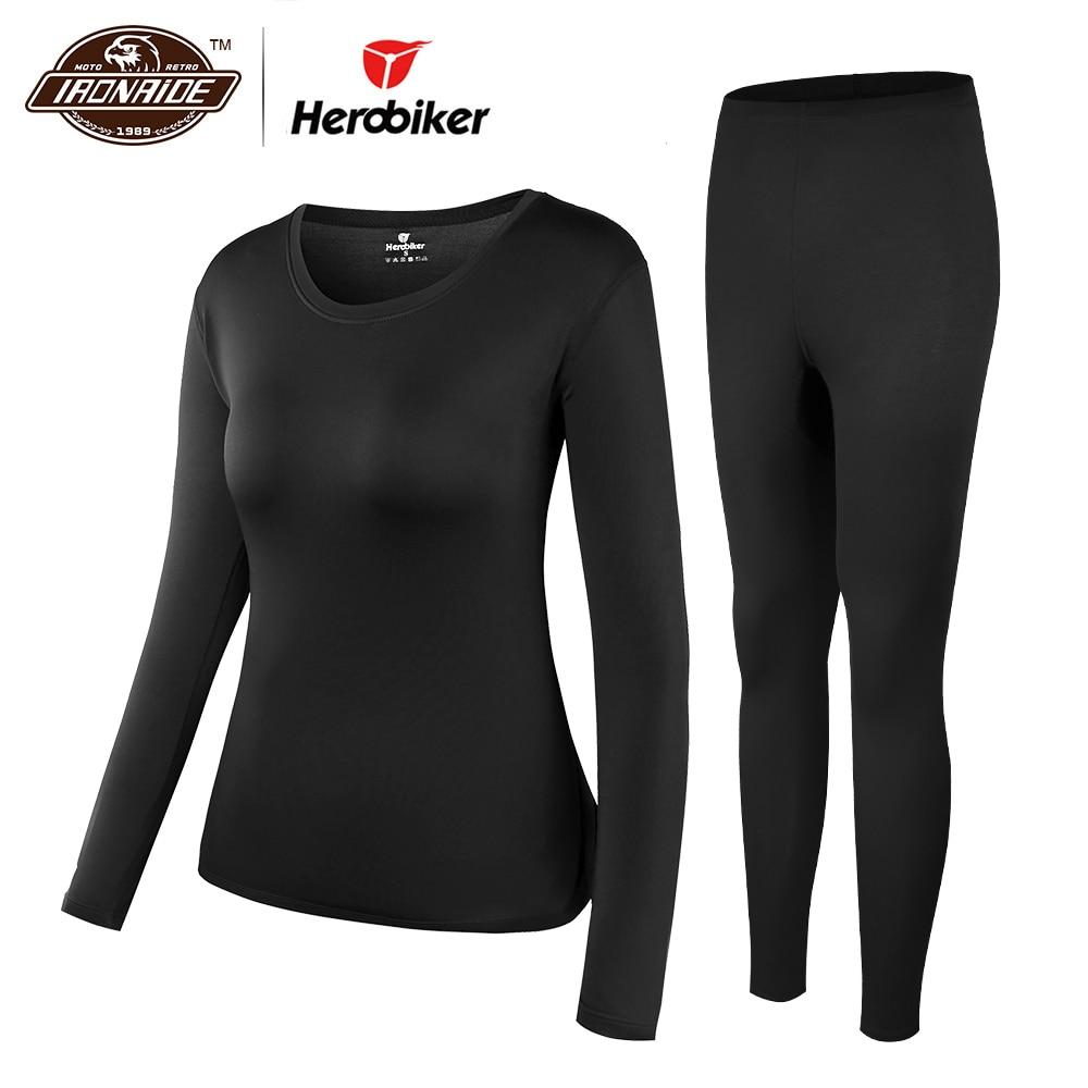Herobiker Mulheres Com Forro de Lã Conjunto de Roupa Interior Térmica Elástica Inverno Esqui Motocicleta Camisas & Inferior Tops Terno Quente Long Johns