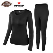 Herobiker Women Fleece Lined Thermal Underwear Set Winter Elastic Motorcycle Skiing Warm L