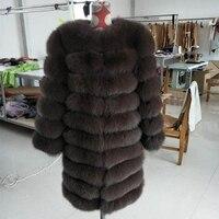 BFFUR 90cm Length New True Coat Design Ladies Winter Real Fox Fur Coat Detachable Real Fur