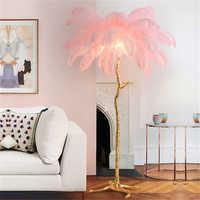 Lámpara de pie de sala de estar de pluma de avestruz nórdica lámpara de pie de dormitorio iluminación Interior moderna lámparas decorativas de pie