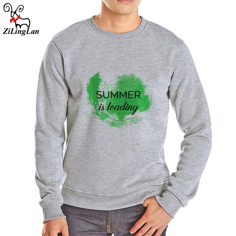 ZiLingLan Summer Is Loading Printed Long Sleeve Cotton Blend Thick Fleece Fabric Men Hoodies Loose Mens Hoodies Sweatshirts