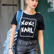 2017 Fashion Harajuku Casual Women's T-Shirts Femme XOXO KARL Printed Punk Rock T Shirt Women Summer Short Sleeve Camiseta Mujer