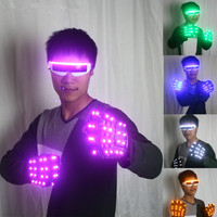 LED Gloves Luminous Flower Finger Light Gloves Party Supplies Dancing Club Props Stage LED Glove LED luminous Costumes