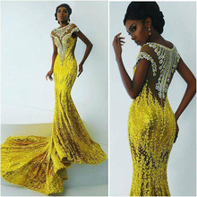 Shiny Yellow Sequined Mermaid Formal Party Dresses With Crystal Beaded Long Gowns Sexy Vestido Longo 2018 Abendkleider(China)