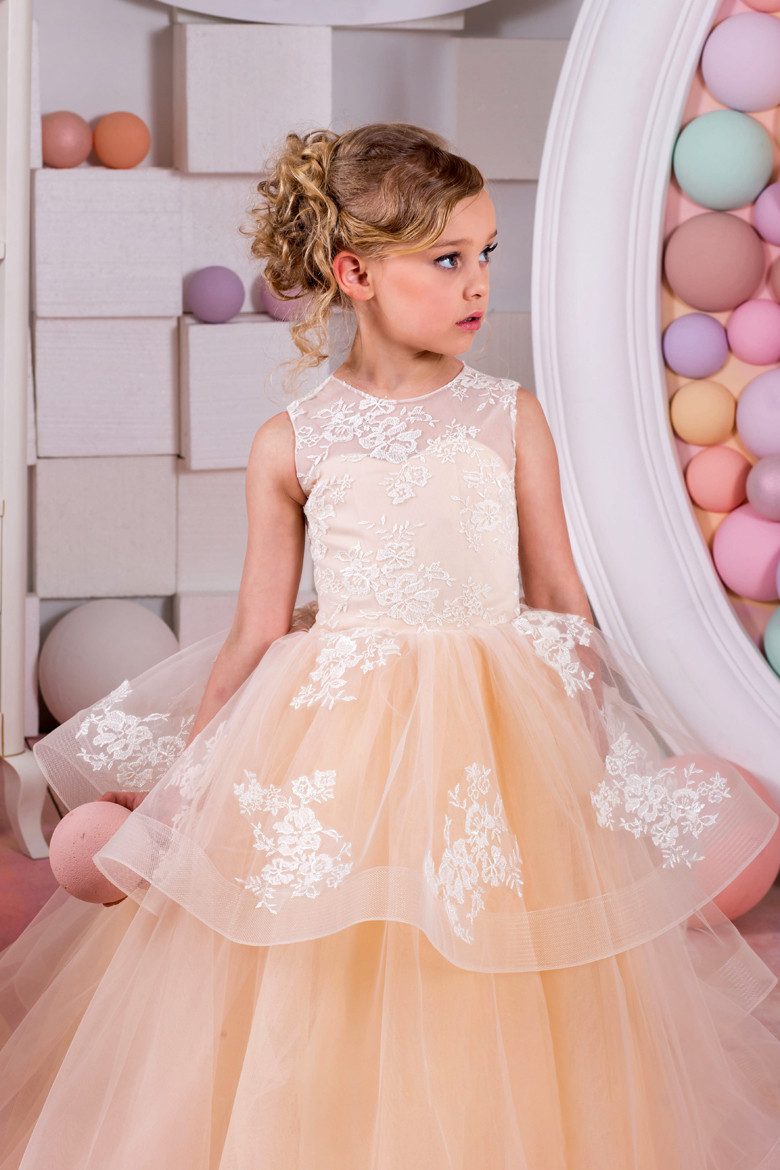 Lace First Communion Dresses Tulle Girls Kids Pageant Ball Gown Mother Daughter Dresses for Girls A-Line Flower Girl Dresses hot sale custom cheap pageant dress for little girls lace beaded corset glitz tulle flower girl dresses first communion gown