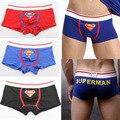 10 unids/lote envío gratis hombres calzoncillos de algodón de la historieta encantadora superman boxer shorts sexy rised mediados de ropa interior de los hombres trunks Ml XL