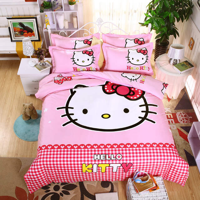 500510af8ca5 placeholder 3D Doraemon Hello Kitty Cartoon Bedding Set Include Duvet Cover  Bed Sheet Pillowcases Kids Soft Bed