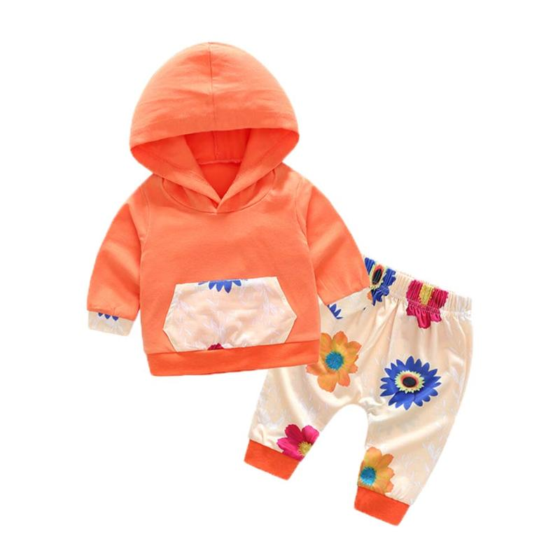 Baby Girls Clothes Set Autumn Casual Long Sleeves Pocket Print Hoodie + Pants 2pcs/set Cotton Blend Baby Clothes