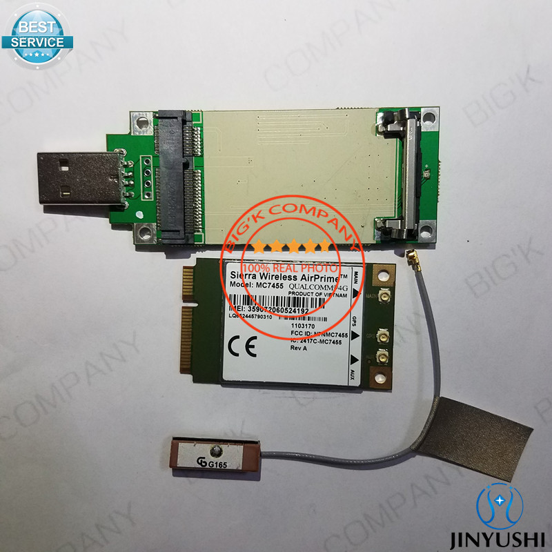 JINYUSHI for MC7455+ 10cm GPS antenna+transfer card FDD/TDD LTE 4G CAT6 DC-HSPA+GNSS USB 3.0 MBIM interface 100% New&Original telit ln930 dw5810e m 2 twh3n ngff 4g lte dc hspa wwan wireless network card for venue 11