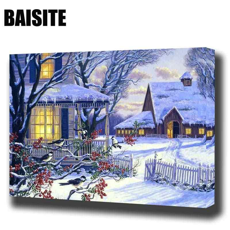 BAISITE DIY Framed Oil Painting By Numbers Landscape Pictures Canvas Painting For Living Room Wall Art Home Decor E855