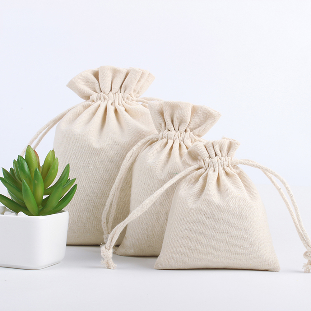 Shopping Bag Cotton Linen Storage Package Bags Drawstring Bag Small Coin Purse Travel Women Cloth Bag Gift Pouch(China)