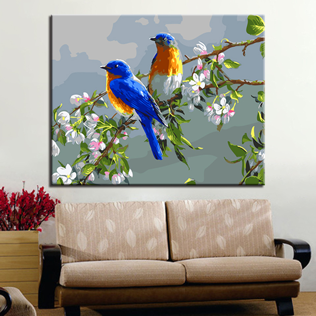 Frame DIY Digital Oil Painting By Numbers Acrylic Colorful Birds Paint Abstract Modern Wall Art Canvas & Frame DIY Digital Oil Painting By Numbers Acrylic Colorful Birds ...