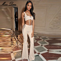 2016 New lace up Beige Strap Sleeveless Bodycon Elegant Chic Sexy Cocktail Party Women Two Piece Sets Hot Sale flare pants