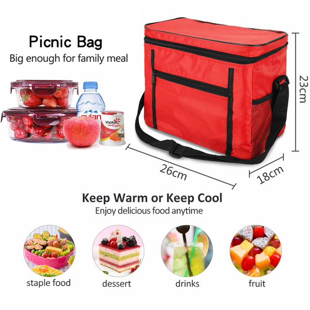 Outdoor Picnic Bag Cooler Bag Oxford Cloth Picnic Bags Aluminum Foil Insulation Lunch Cold Box