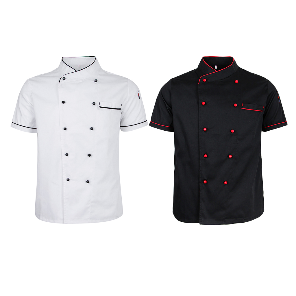 Women Men Durable Chef Jacket Coat Double Breasted Hotel Kitchen Summer Thin Waiter Unisex Uniform Short Sleeve Chefwear M - 2XL image