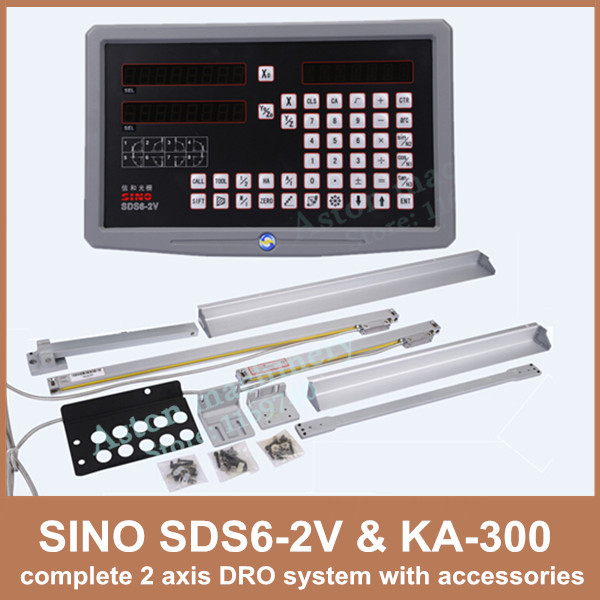 цена на Free Shipping 2 axis Dro Digital Readout Sino SDS6-2V And KA-300 Linear Scale Complete 2 Axis DRO Kit For Mill Or Lathe Machine