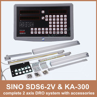 Free Shipping 2 axis Dro Digital Readout Sino SDS6 2V And KA 300 Linear Scale Complete 2 Axis DRO Kit For Mill Or Lathe Machine