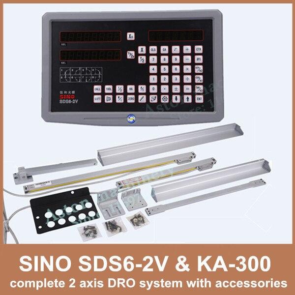 Livraison Gratuite 2 axes Dro Lecture Numérique Sino SDS6-2V Et KA-300 Échelle linéaire Complet 2 Axes DRO Kit Pour Moulin Ou Tour Machine