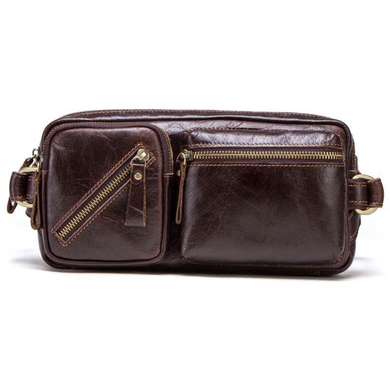 Durable hommes Fanny taille Pack ceinture Hip Bum en cuir véritable sac de course pochette de téléphone