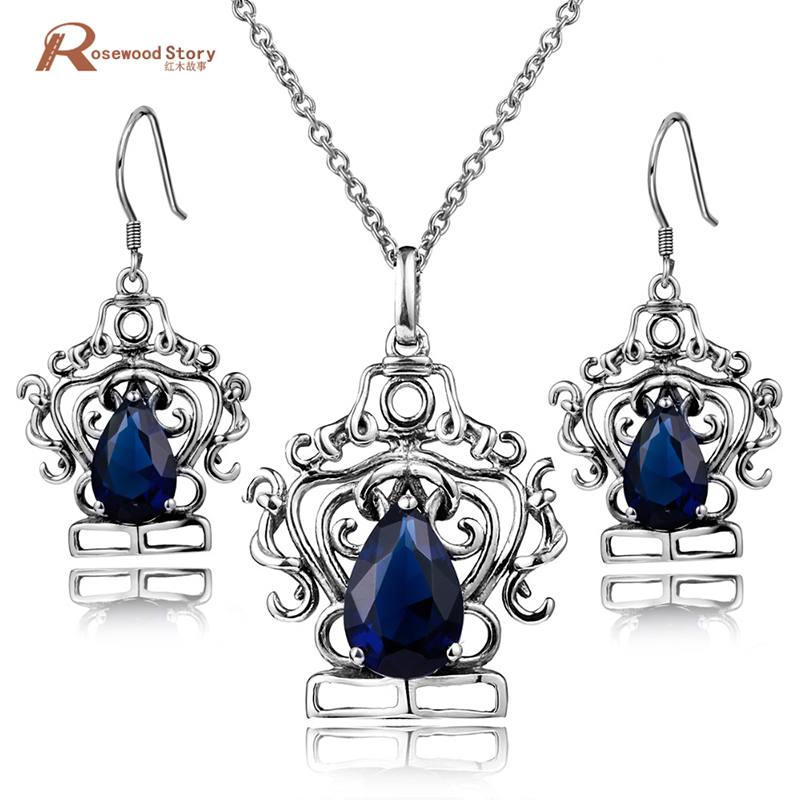 Princess Diana Vintage 925 Sterling Silver Jewelry Sets Blue Rhinestone Crystal Drop Earrings and Pendant Set Women Gift цена 2017