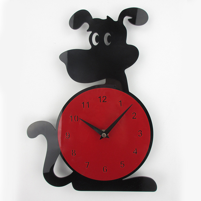 3D Wall Clock Dog Shape Fashion Home Decor Acrylic Wall Clock Horloge Murale