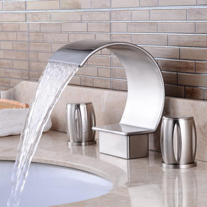Image 2 - New fashion Modern Basin Faucet Bathroom Accessories Black Brush Nickel Retro Faucets Hot and Cold Mixer Water Tap Crane