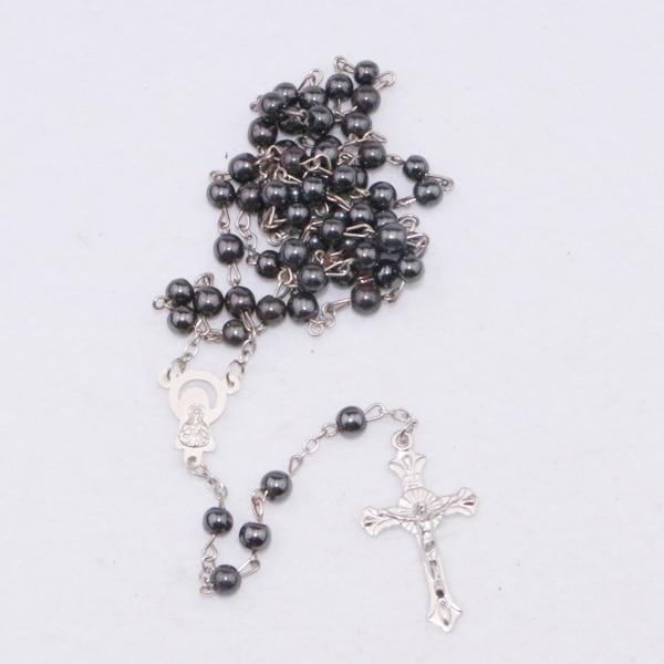 Nero Perline Rosario collana e collana croce ITALIA CROCIFISSO Cattolico