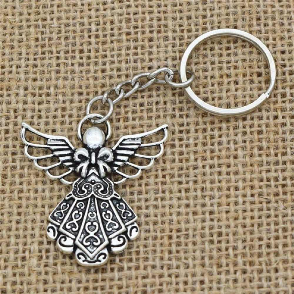 Antique Silver Plated Big Guardian Angel Pendant Key Chain Jewelry Key Rings New
