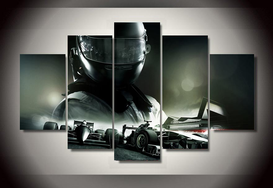 unframed Printed F1 Racing car 5 piece picture Painting wall art ...
