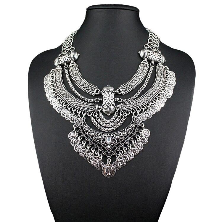 2015 new design retro coin multi layer necklace gold necklaces ...