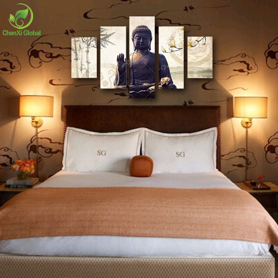 Living Room Canvas Paintings Aliexpresscom Buy 5 Piece Canvas Art Modern Printed Buddha