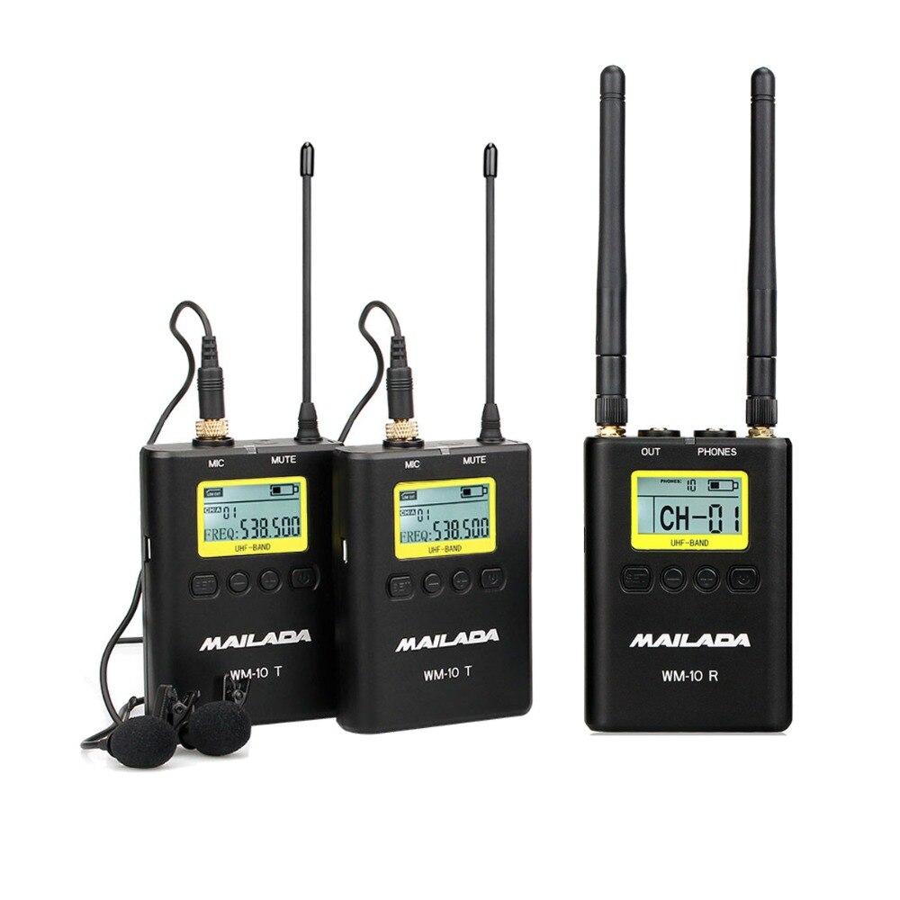 WM-10 Professionnel UHF Système de Microphone Sans Fil Cravate Revers Micro Récepteur + Émetteur pour DSLR Caméscope Enregistreur