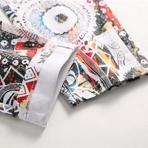 Image 5 - Sokotoo גברים של אופנה 3D עלה מודפס לבן ג ינס Slim fit למתוח מכנסי עיפרון