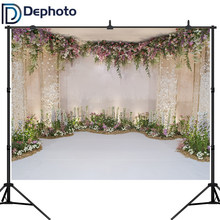 Dephoto White Floral Photo Backgrounds 3D Flower Wedding Shower Photography Backdrops Party Decoration Supplies Booth Banner(China)