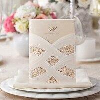50 pcs Cartão Postal Cartão Cartão Do Convite Do Casamento Branco Oco Personalizar a Impressão Fontes Do Partido Do Evento Do Casamento De Corte a Laser