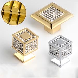 Image 2 - 24k ouro real ou cromo checa cristal gaveta armário botões guarda roupa puxadores de móveis puxadores puxadores