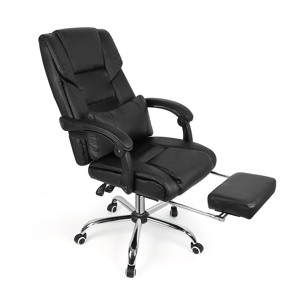 New Black Lifting Leather Chair Swivel Office Chair Home Computer Desk Chair Armchair Boss Office Chair With Footrest HWC