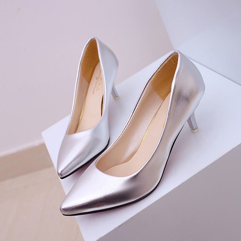 Fashion High Heel Women Shoes Spring Summer Pointed Toe Pumps Female Black White Red Pumps Solid Office Pumps Shoe 914412 new hot spring summer high quality fashion trend simple classic solid pleated flats casual pointed toe women office boat shoes