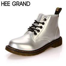 HEE GRAND Women Boots Autumn British Style Ankle Boots Bling PU Leather Martin Boots Casual Platform Flats Shoes Woman XWX2417