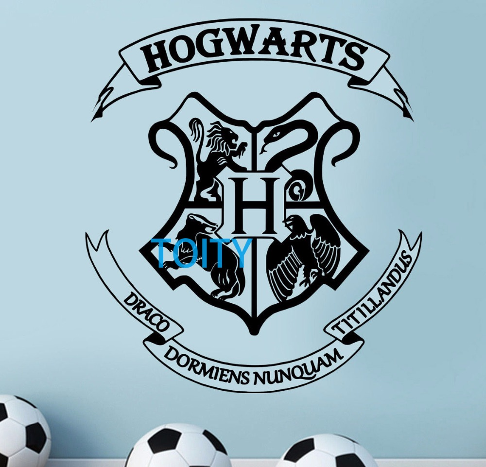 hogwarts coat of arms wall sticker harry potter vinyl decal movie poster mural h64cm x w58cm in. Black Bedroom Furniture Sets. Home Design Ideas